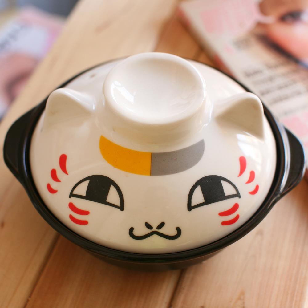 Genuine Free Post Bandai Natsume's Book of Friends cat teacher Mr. cat white ceramic casserole stew pot clay pot(China (Mainland))