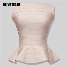 DEIVE TEGER Free Shipping 2015 New Peplum Hemline Essentials Ruffles Bandage Top Lady's Vest Gilet Camiseta HL1578(China (Mainland))