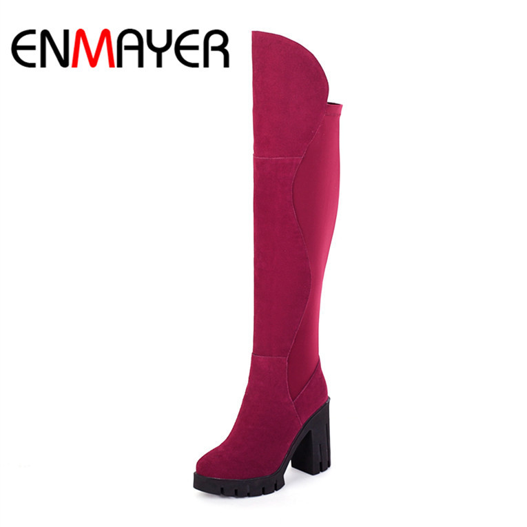 Фотография ENMAYER High Quality New Hot  Round Toe  Fashion Winter Boots for Women Long Boots Boots Matte Leather Dating Casual Fashion