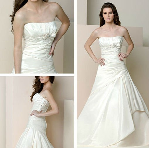 Factory Wholesale Free Shipping Q0216 strapless Spring beaded high quality satin ivory vintage wedding dress 2015
