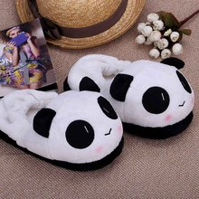 Indoor Novelty for Lovers Winter Warm Slippers Lovely Cartoon Panda Face Soft Plush Household Thermal Shoes 26cm / 10.24in(China (Mainland))