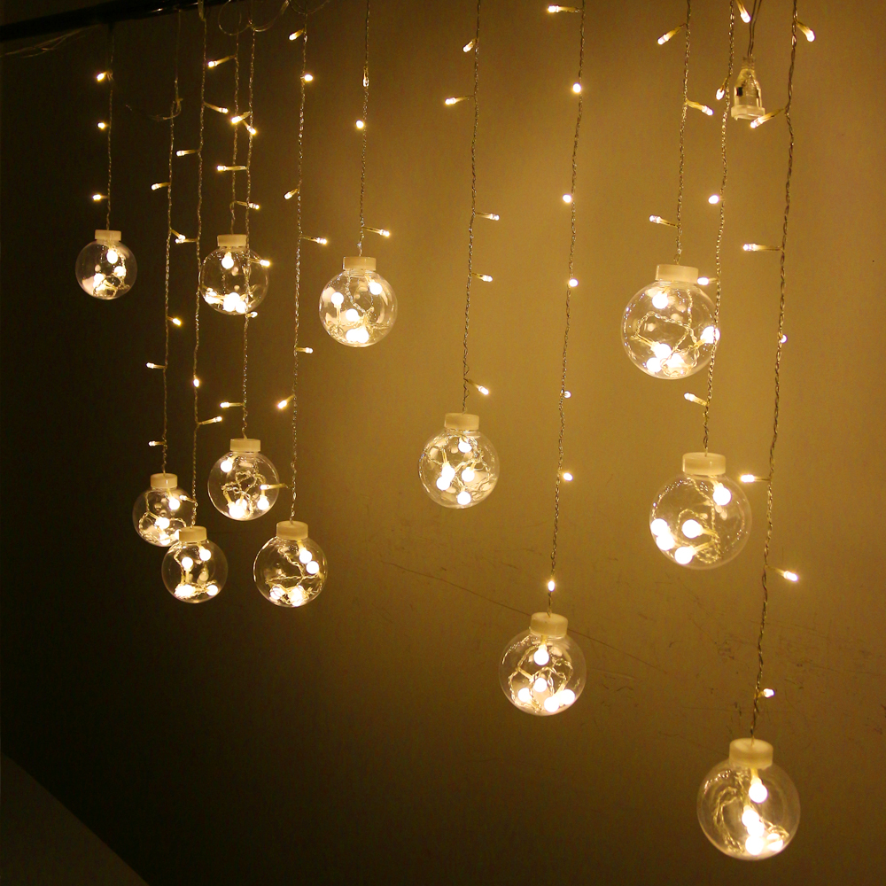 5pcs/lot 120 LED 12 Ball led christmas String Light Lamp Outdoor Indoor with Tail US Plug for ...