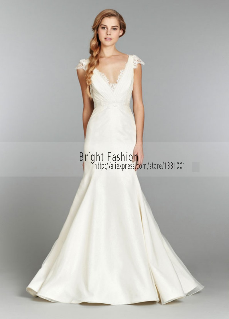 Buy cap sleeve no train wedding gown 2015 for No lace wedding dress