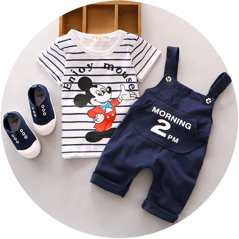 Spring 2016 new newborn baby boy clothes girl clothing set suit toddler bodysuits 2pcsT-shirt+pants Mickey sport - Rain Yu store