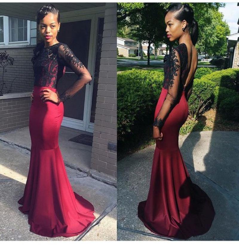 Long Sleeve Evening Dresses Black Lace Burgundy Prom Dress ...