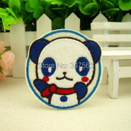 The baby panda badges children boutique cloth paste clothes patch decals scrapbooking button iron on patches badges velcro patch(China (Mainland))