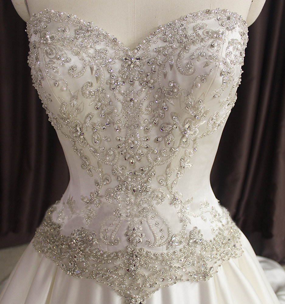 Buy women princess crystal bling wedding for Wedding dresses with crystals beading