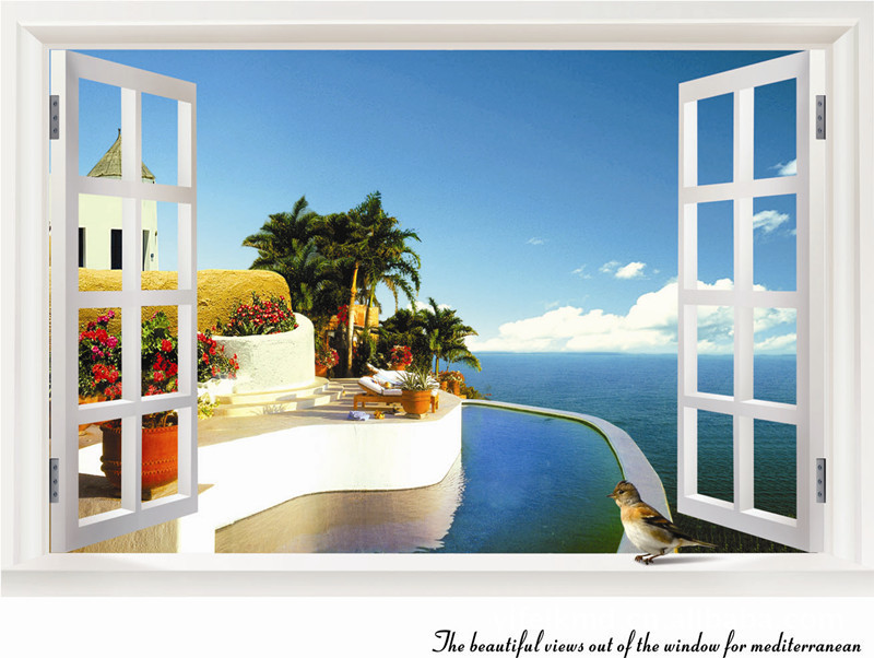 Mediterranean Landscape Summer Seaside Fake Window Wall Sticker Creative Home Decoration Wall Paper 60*90cm Free Shipping