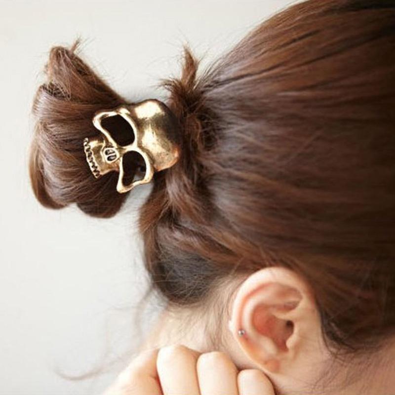 1PCS Vintage Punk Metal Skull Hairband Hair Rope Halloween Costume Hot Women Fashion Summer Style(China (Mainland))