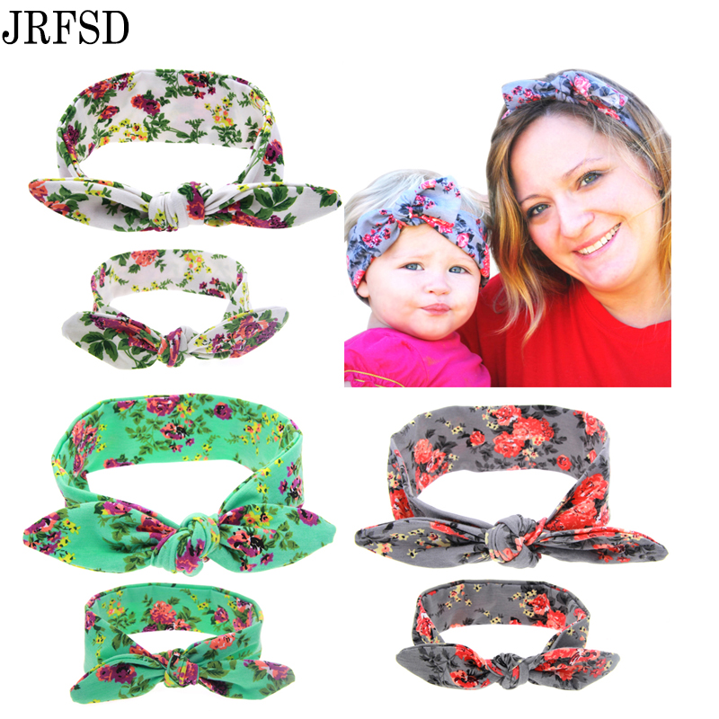 JRFSD Mom and Kid Headband Pair Set Top Knotted Headband Fashion Hair Bands Cotton Headwrap Flower Hair Accessories For Women(China (Mainland))