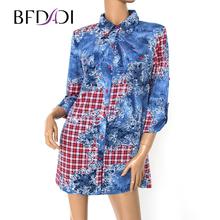 BFDADI 2017 Весенние Футболки Женщины 3/4 Рукав Печатных Длинные Блузки Леди Мода Свободные Топы Blusas Большой размер 2848(China (Mainland))