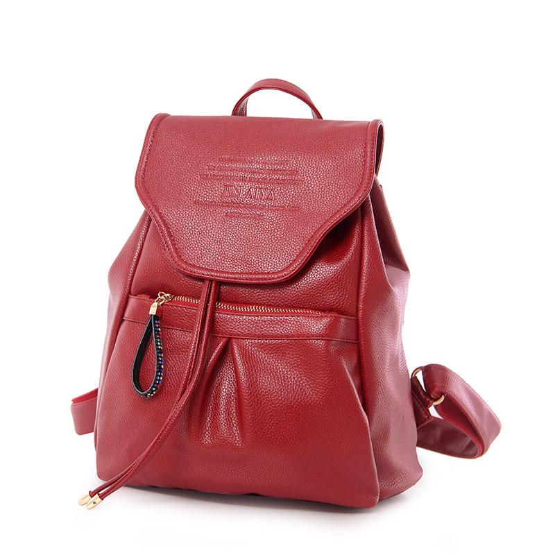 High Quality New Casual Women Backpack Female PU Leather Solid  Backpacks Bagpack Sport Travel Backpacks STA8900 Bur gundy<br><br>Aliexpress