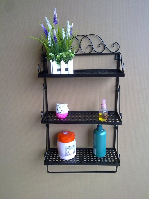 Bathroom wall shelves Wrought iron craft towel rack countryside style shower caddy 3 tier 3 colors bathroom accessories