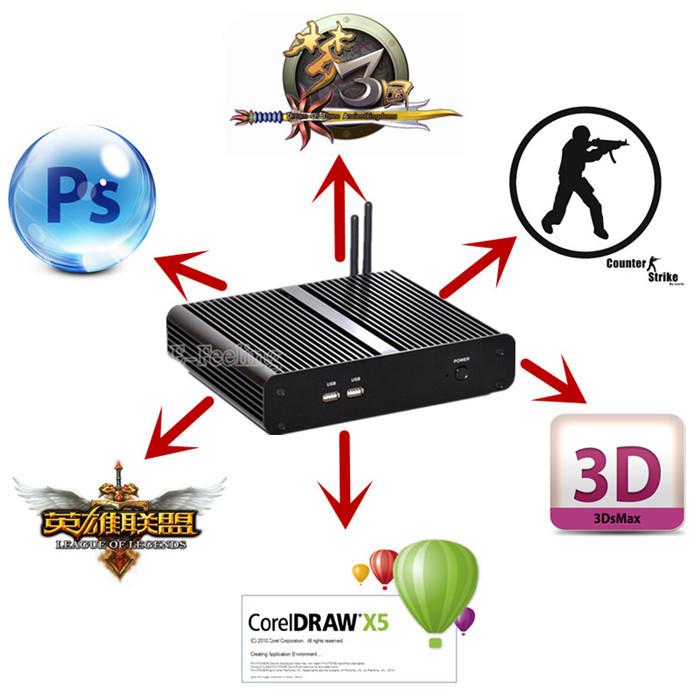 Best Fanless Mini Assembled Desktop Computer With Intel Core i7-4500U HD Graphics 4400 Gaming PC HDMI 4K DP Port(China (Mainland))