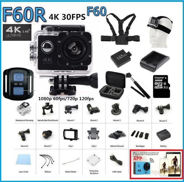 4K Action camera F60 F60R Allwinner V3 4K/30fps 1080P gopro style sport WiFi 2.0LCD 170D Cam underwater go waterproof pro camera(China (Mainland))