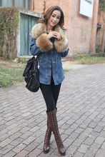 2014 New Arrival Winter Women s Denim Patchwork Wadded Jacket Outerwear Faux Fur Collar Thickening Coats