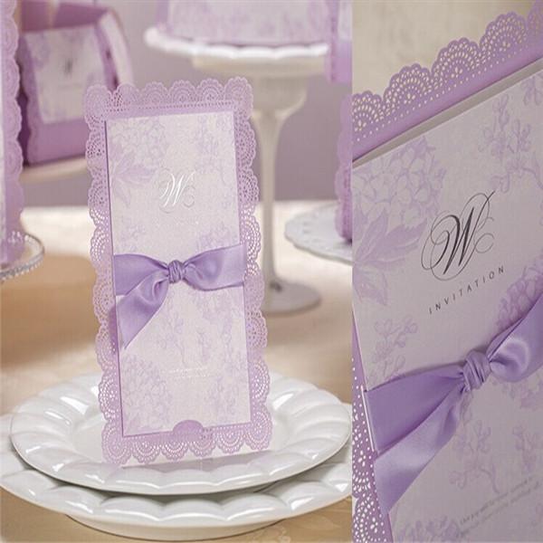50Pcs Ribbon Light Purple Theme Wedding/Party Invitation Card Customizable Hollow Invitations Blank Inner Sheet With Envelope(China (Mainland))