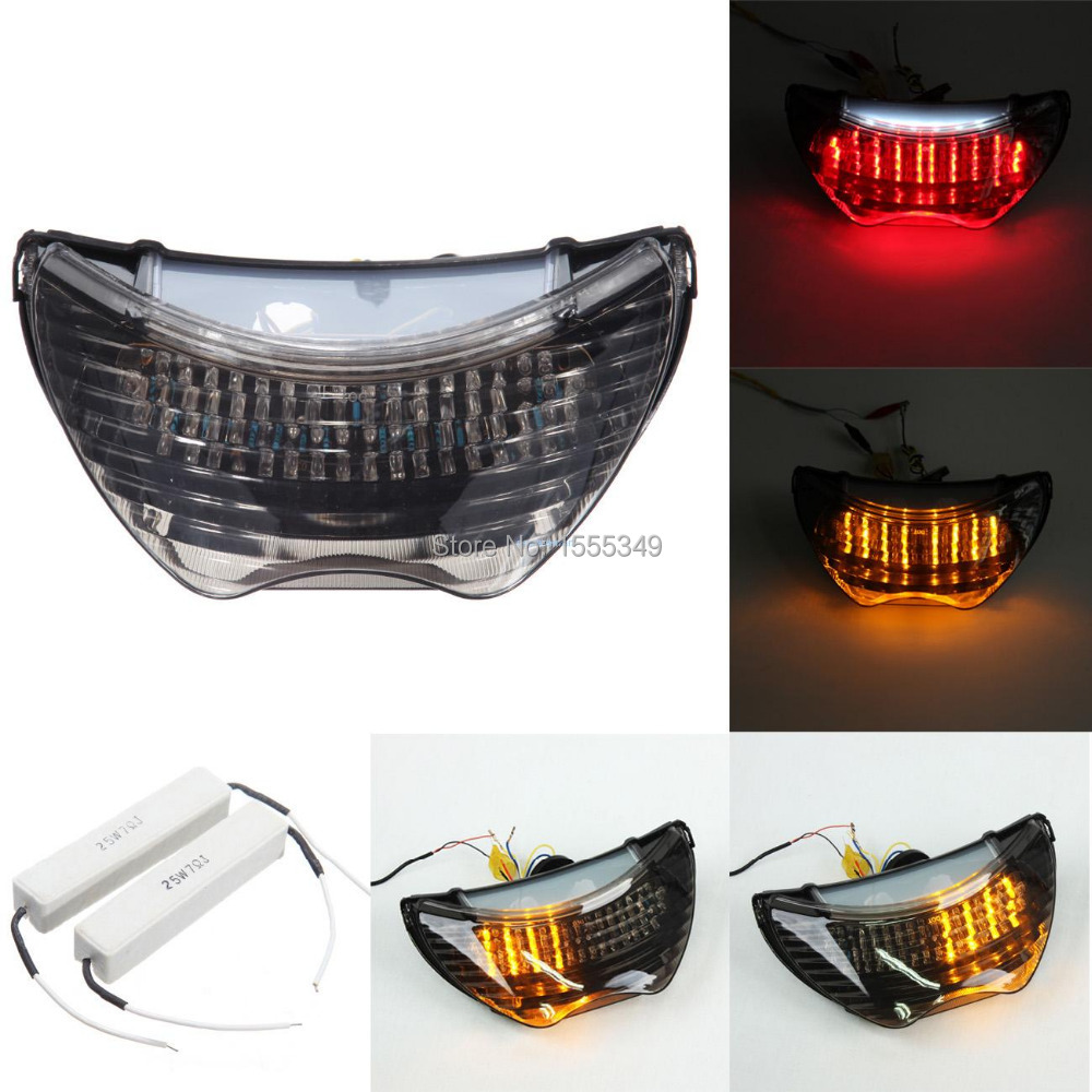 Krator ITL034 Turn Signals 1999-2006 Honda 600 F4 // F4i CBR 900RR LED TailLights Brake Tail Lights with Integrated Indicators Smoke Motorcycle