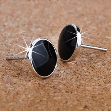 2016 new Personalized 925 pure silver stud earring black male fashion silver earrings accessories anti-allergic gift(China (Mainland))