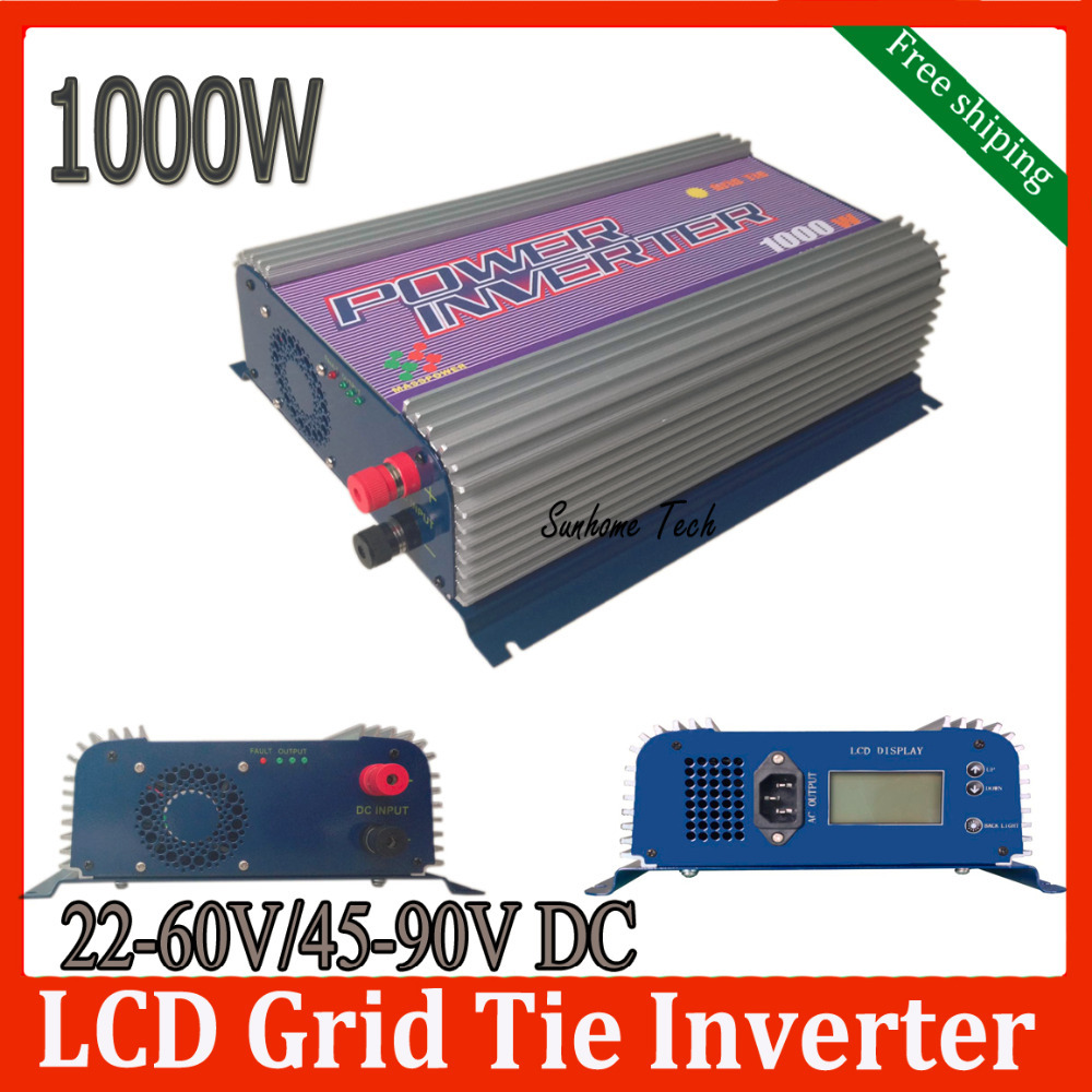 1000W LCD solar grid tie inverter with MPPT function,22-60V/45-90V DC,120/230V AC CE,RoHS ,SGS pure sine wave inverter(China (Mainland))