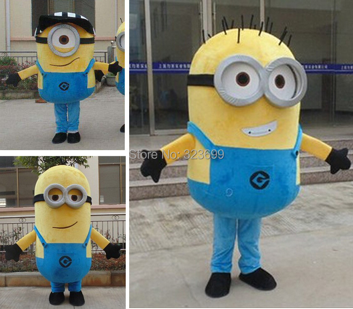 on sale! free shipping,8 styles, Despicable me minion mascot costume for adults despicable me mascot costume(China (Mainland))