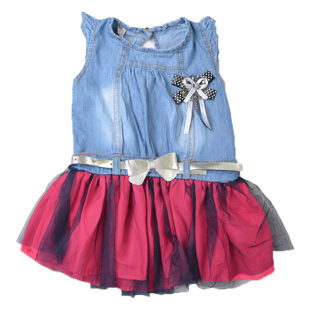 Kids Clothing Girls Cute Summer Dresses With A Bowknot Belt Girls Sleeveless Dresses, Free Shipping A1971(China (Mainland))