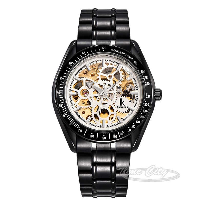2016 Super Glow Gear IKcolouring Men Self Wind Automatic Mechanical Watch Skeleton Hollow Steel Strap Fashion New Wrist watches