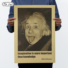TIE LER Albert Einstein Poster Vintage Retro Paper Wall Stickers Imagination Is More Important Than Knowledge(China (Mainland))