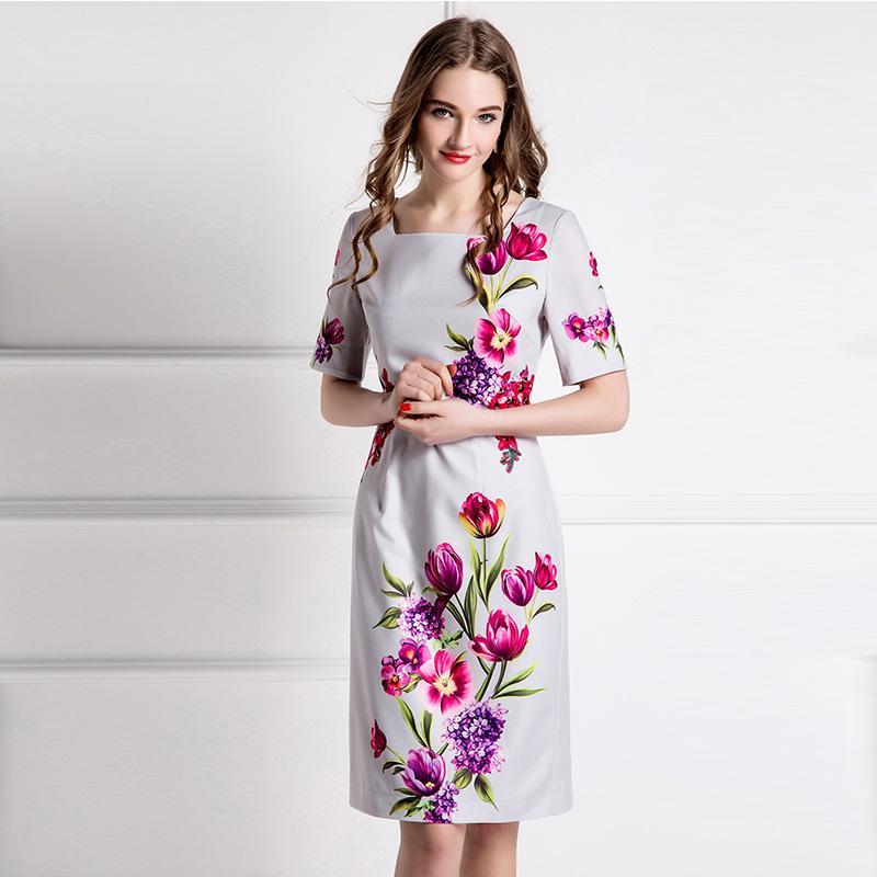 XXL!Best Grade New Plus Size Summer Dress 2016 Woman Square Collar Elegant Floral Print Short Sleeve Mid-Calf Office Dress OL(China (Mainland))