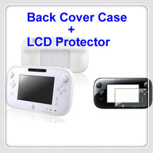 Compatible with Nintendo Wii U Gamepad Remote Controller White Full Protection Silicone Skin Back Cover Case + LCD Protector