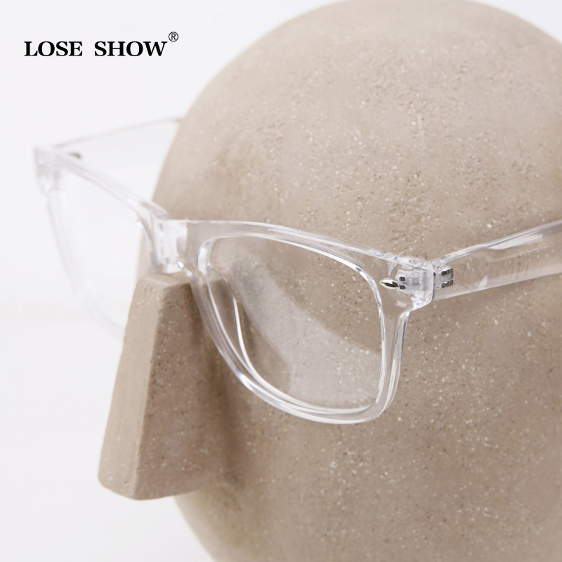 fashion male loseshow women big box myopia white transparent box crystal eyeglasses frame