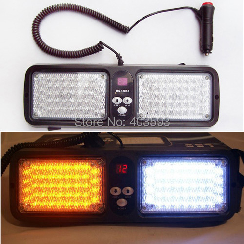 WHITE AMBER Super bright 86 pcs LED visor light emergency warning   lights car strobe light