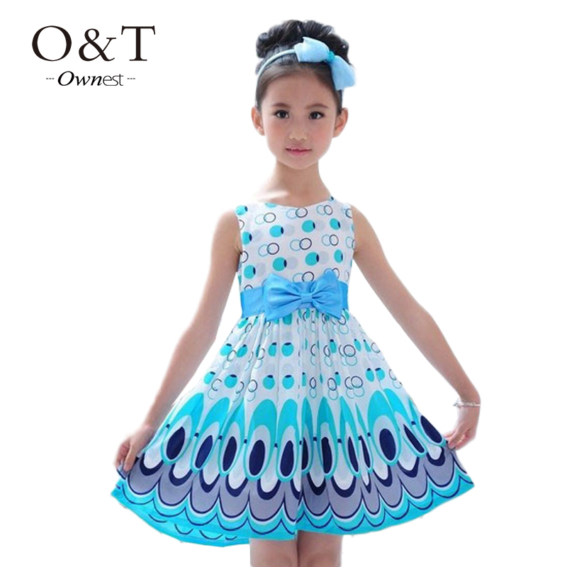 2015 Kids Girls Dress cute peacock color sleeveless princess dress circle Korean Fashion children's New clothes(China (Mainland))