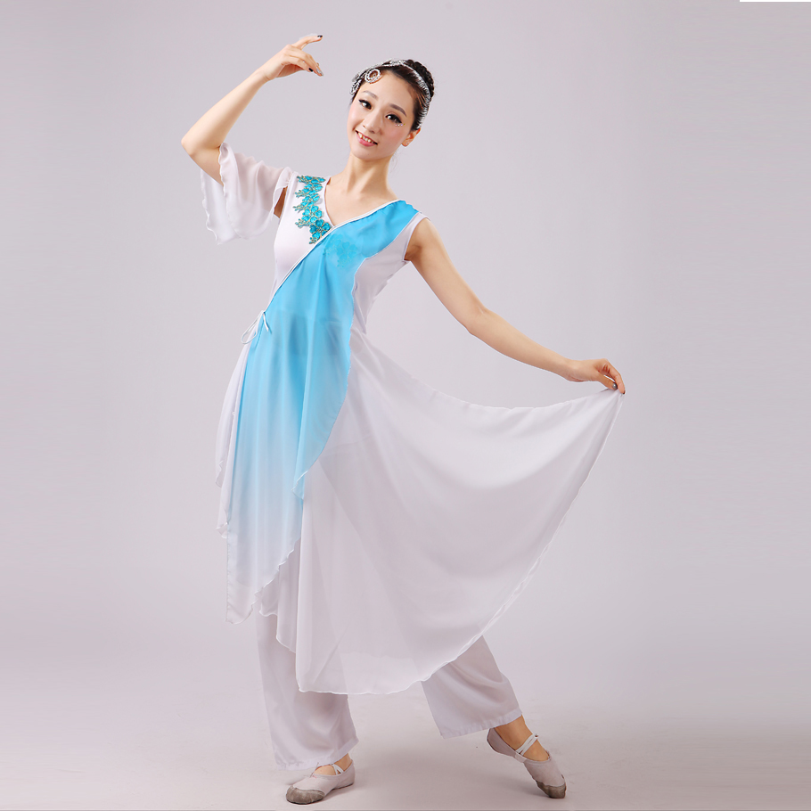 Classical Dance Women Chinese Folk Dance Sleeveless Dance Dress Blue/rose Red Yangko Dance Costumes Fairy Stage Wear(China (Mainland))