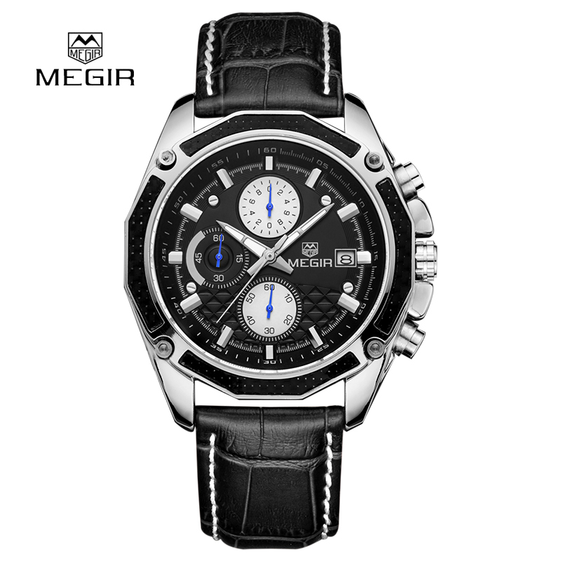 2016 New Megir Chronograph 6 Hands Leather Business Watch Montre Homme Famous Brand Watches Men Luxury Brand Watches Megir 2015<br><br>Aliexpress