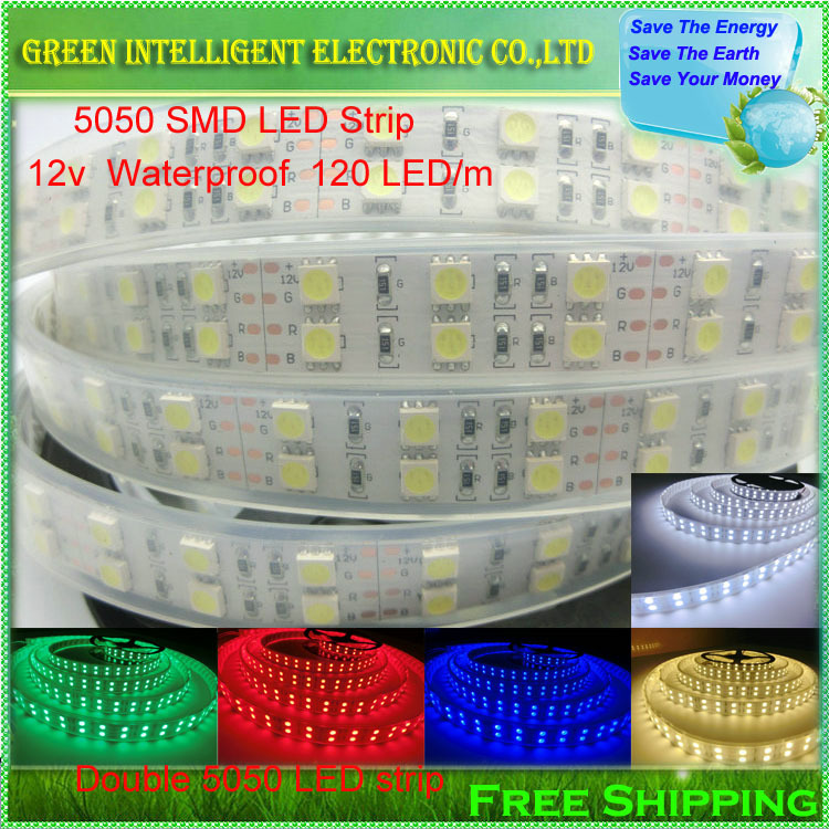 120LEDs/m Double Row SMD 5050 LED Strip 12V Silicone Tube Waterproof flexible Light 5meter/lot<br><br>Aliexpress