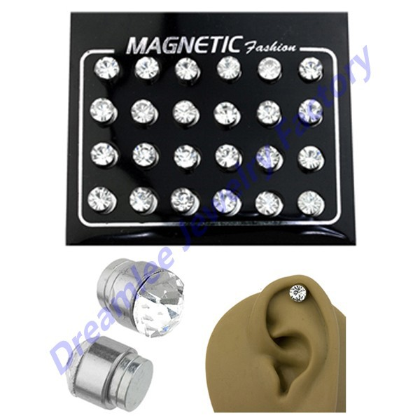 960pieces Clear CZ Crystal Cheater Plugs Magnetic Earring Fake Ear Stud No Piercing Jewelry