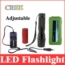 2000 lumens 26650 led flashlight cree xml t6 zoomable torch lantern to hunt / tactical+charger+26650 battery+protective box LT14(China (Mainland))