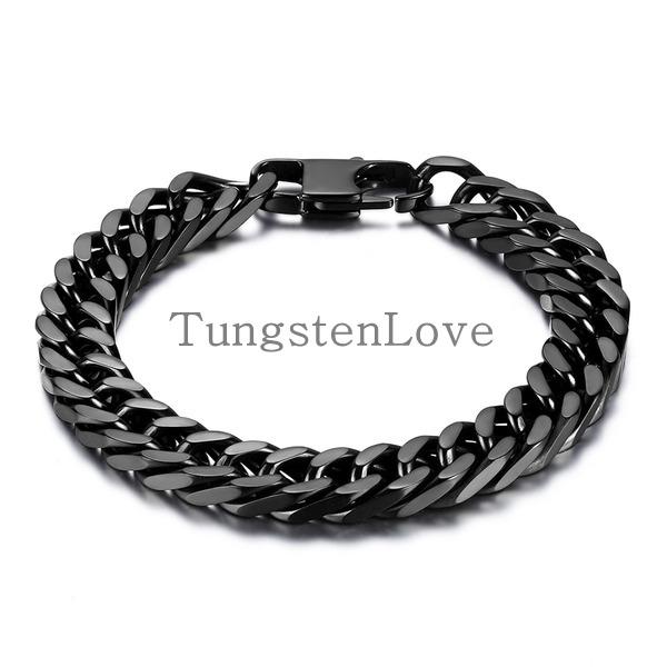 21 cm 10 mm large lourd noir bracelet en acier. Black Bedroom Furniture Sets. Home Design Ideas