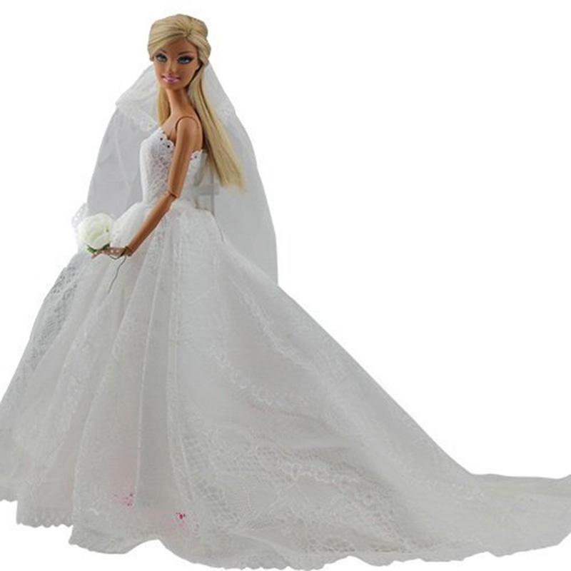 Elegant White Princess Evening Party Clothes Wears Long Dress Outfit Set for Barbie Doll with Veil Hot Selling(China (Mainland))
