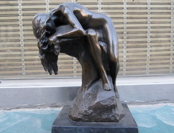 SCY 00432 Western Sexy NUDE GIRL LYING ON A ROCK BY MILO BRONZE copper ART STATUE (A0414)(China (Mainland))