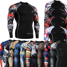 FIXGEAR Compression Shirts Skin Tight Weight Lifting Base Layer Running Training Body building Fitness Top for