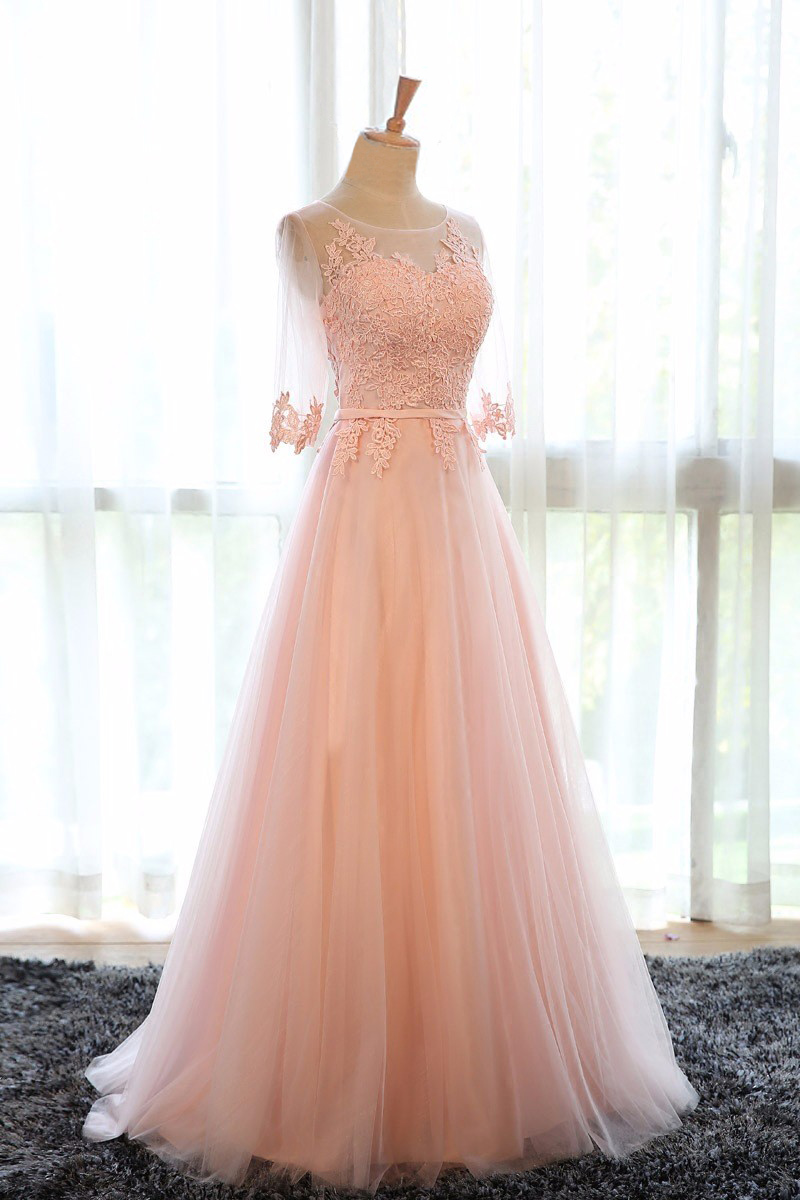 Elegant O-Neck A-Line Sweep Train Lace Evening Dress Cheap Prom Dresses Robe De Soiree Party Dress With Half Sleeves