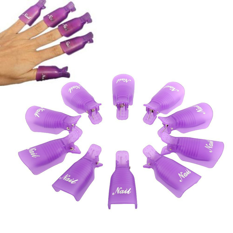 Lowest price Free shipping 10PC Plastic Nail Art Soak Off Cap Clip UV Gel Polish Remover Wrap Tool Resurrection Clip Set