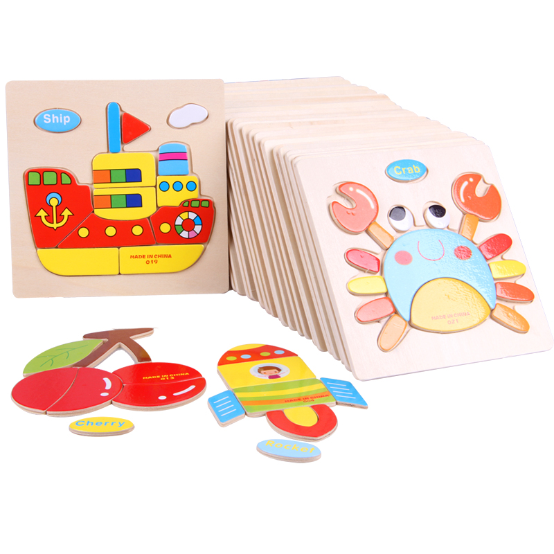 Wooden 3D Puzzle Jigsaw Wooden Toys For Children Cartoon Animal Puzzle Intelligence Kids Educational Toy Toys(China (Mainland))