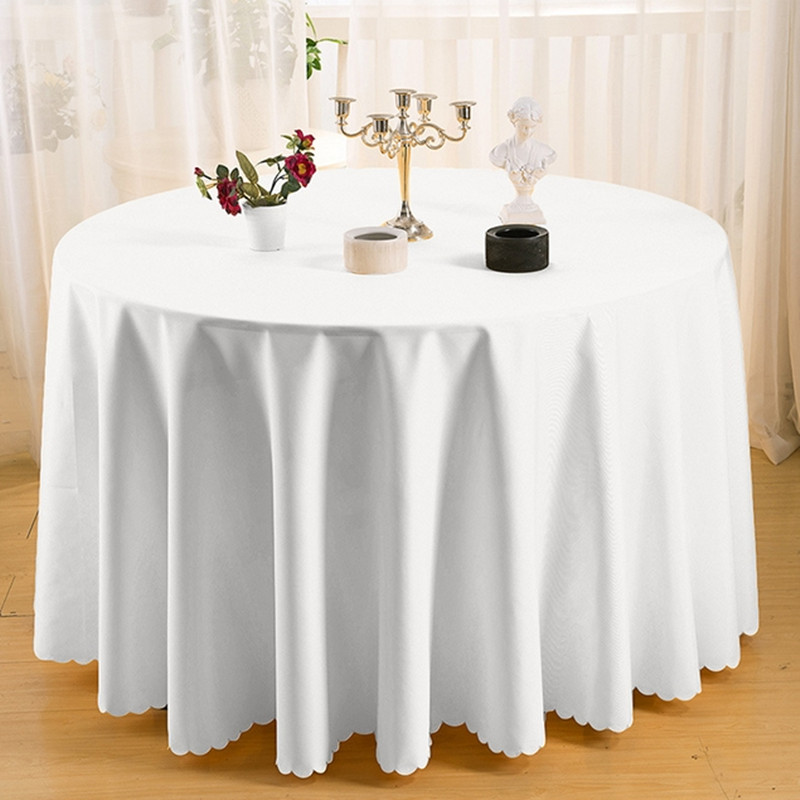 White Round Polyester Wedding Tablecloths Table Covers Table Cloth Decorations Banquet Home Outdoor wholesale(China (Mainland))