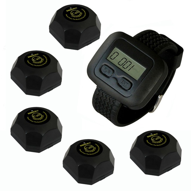 SINGCALL Wireless Waiter Service Calling System,for Bank, Pack of 5 Buttons and 1 pc Watch. For Restaurant/Cafe shop