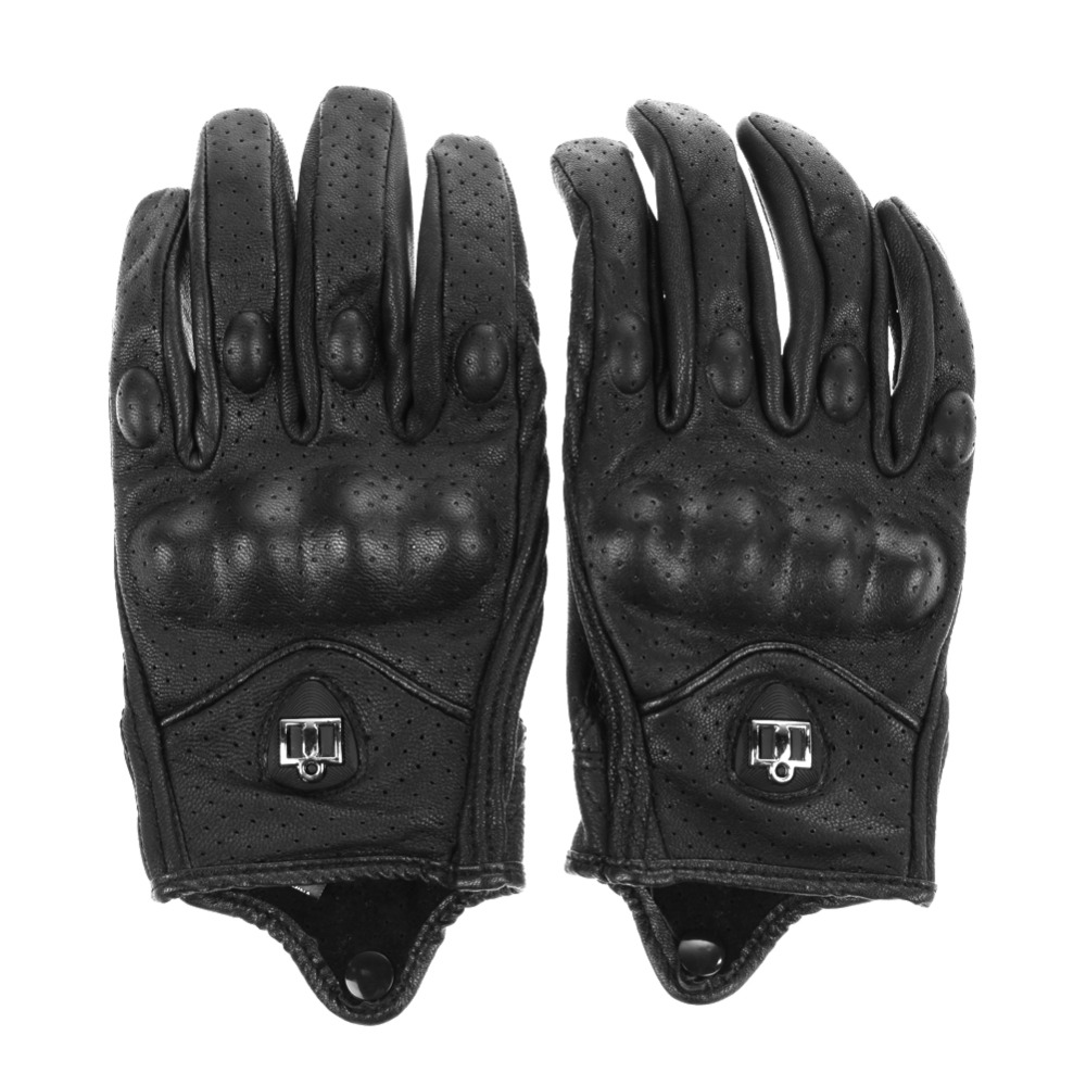 Men Motorcycle Gloves Outdoor Sports Full Finger Motorcycle Riding Protective Armor Black Short Leather Gloves Free Shipping(China (Mainland))