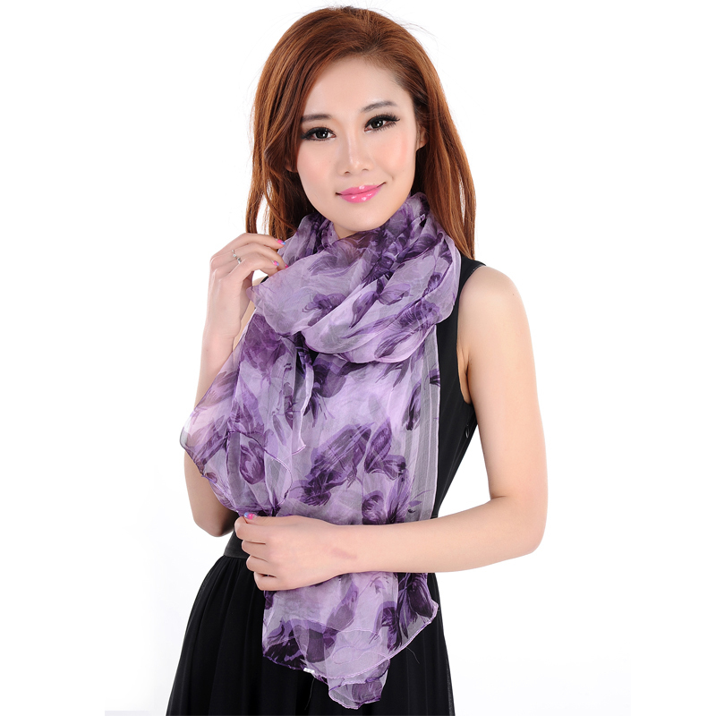 Brand Design 100% Pure Silk Scarf Women Shawl Large Size 180*105cm Chiffon Muslim Hijab,Printed Romantic Violet Lavender KQ32007(China (Mainland))