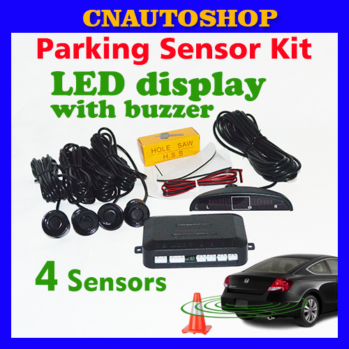 Car LED Parking Sensor Kit Display 4 Sensors 22mm 12V for all cars Reverse Assistance Backup Radar Monitor System Free Shipping(China (Mainland))